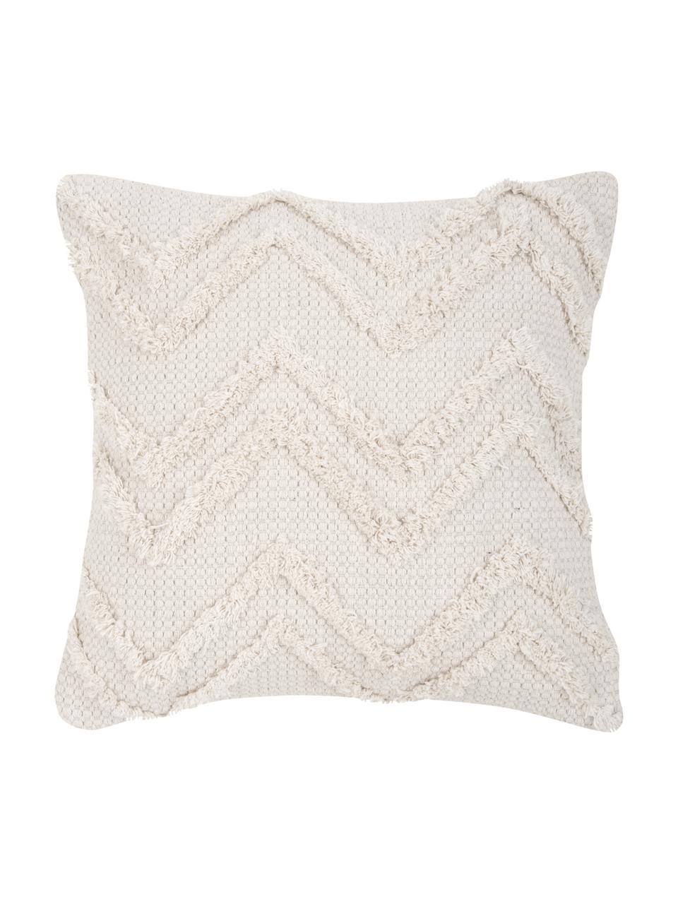 Federa arredo boho con motivo a zigzag  Akesha, 100% cotone, Ecru, Larg. 45 x Lung. 45 cm