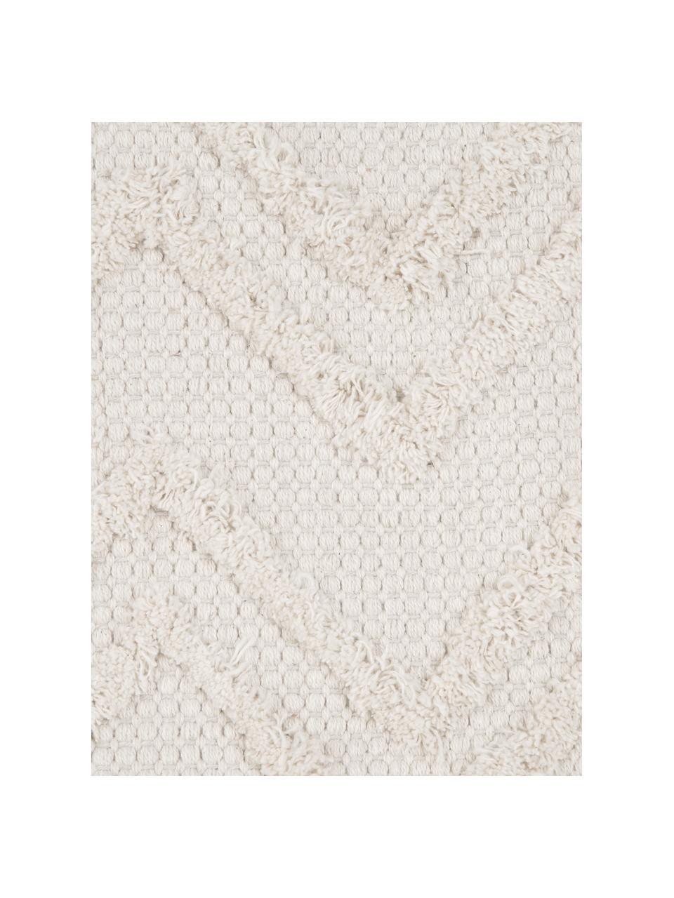 Boho Kissenhülle Akesha mit getuftetem Zickzack-Muster, 100% Baumwolle, Ecru, 45 x 45 cm