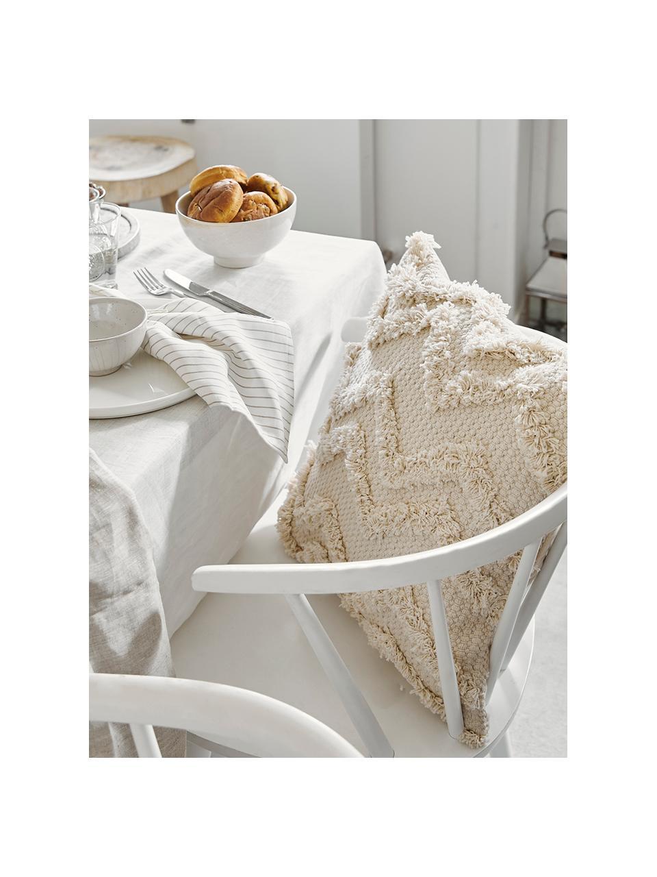 Poszewka na poduszkę w stylu boho z tuftowanym wzorem Akesha, 100% bawełna, Ecru, S 45 x D 45 cm