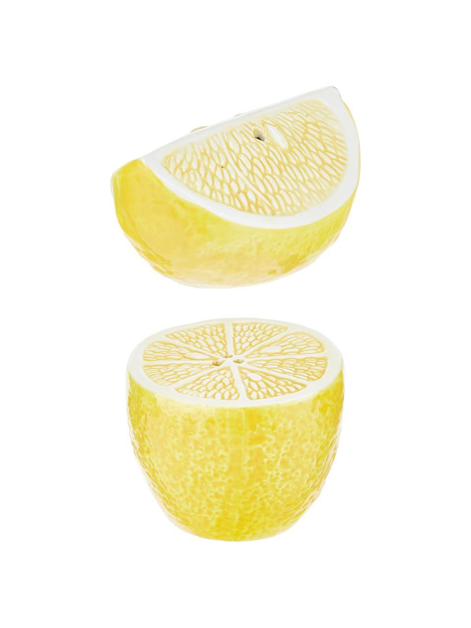 Zout- en peperstrooierset Lemon, 2-delig, Porselein (dolomiet), Wit, geel, 7 x 7 cm
