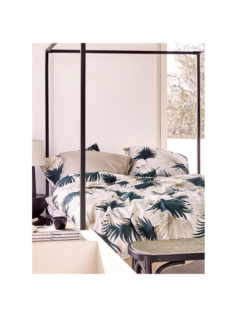 Baumwollsatin-Bettwäsche Aloha mit Palmenblättern, Webart: Satin Fadendichte 210 TC,, Vorderseite: Beige, GrünRückseite: Beige, 240 x 220 cm + 2 Kissen 80 x 80 cm