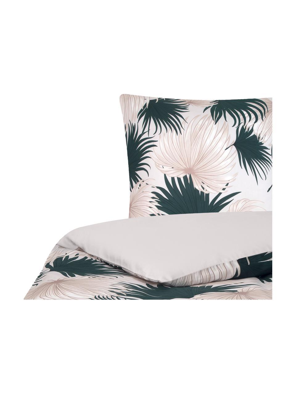 Pościel z satyny bawełnianej Aloha, Przód: beżowy, zielony Tył: beżowy, 240 x 220 cm + 2 poduszki 80 x 80 cm