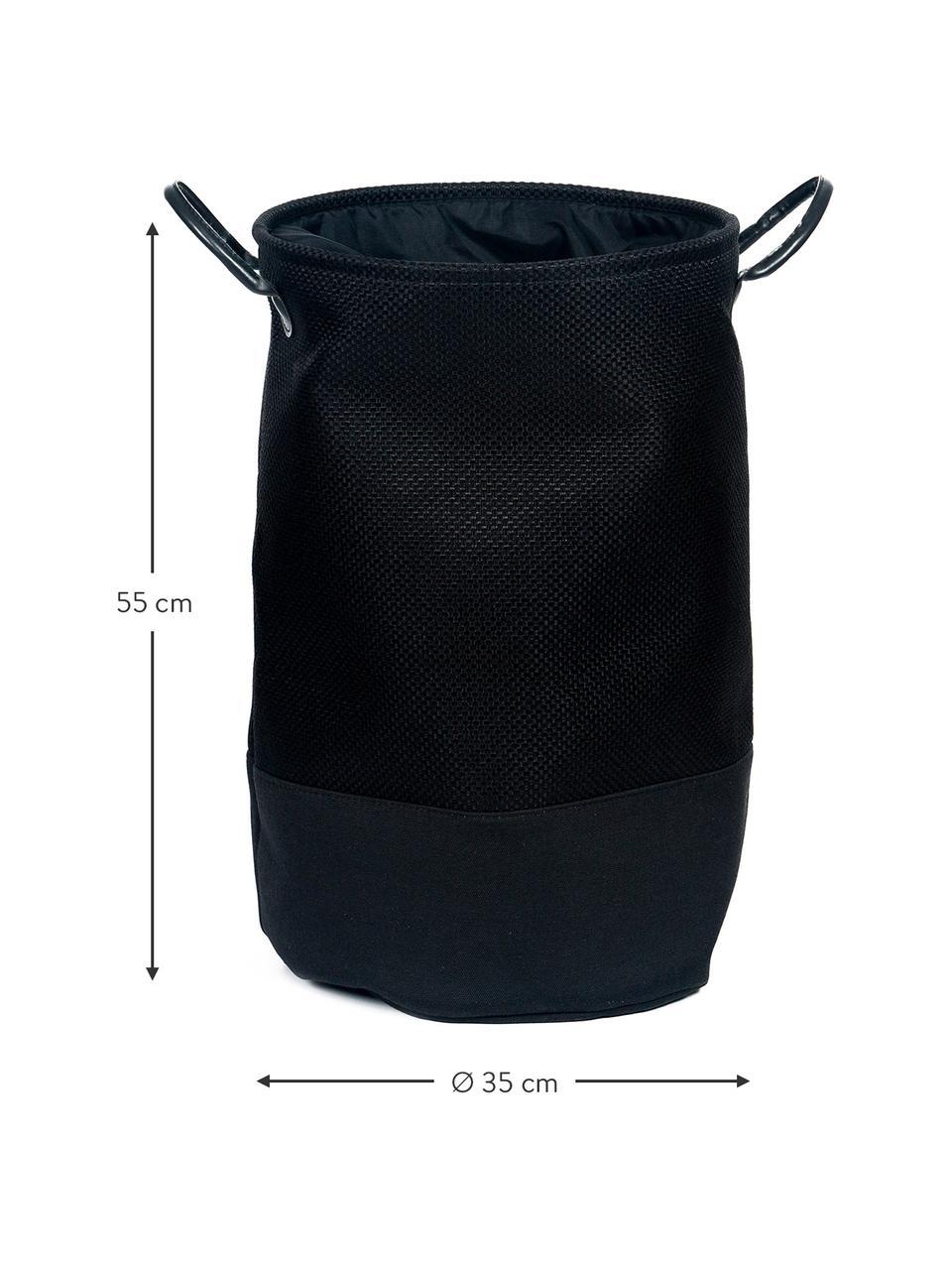 Wäschekorb Camberwell, Polyester, Schwarz, Ø 35 x H 55 cm