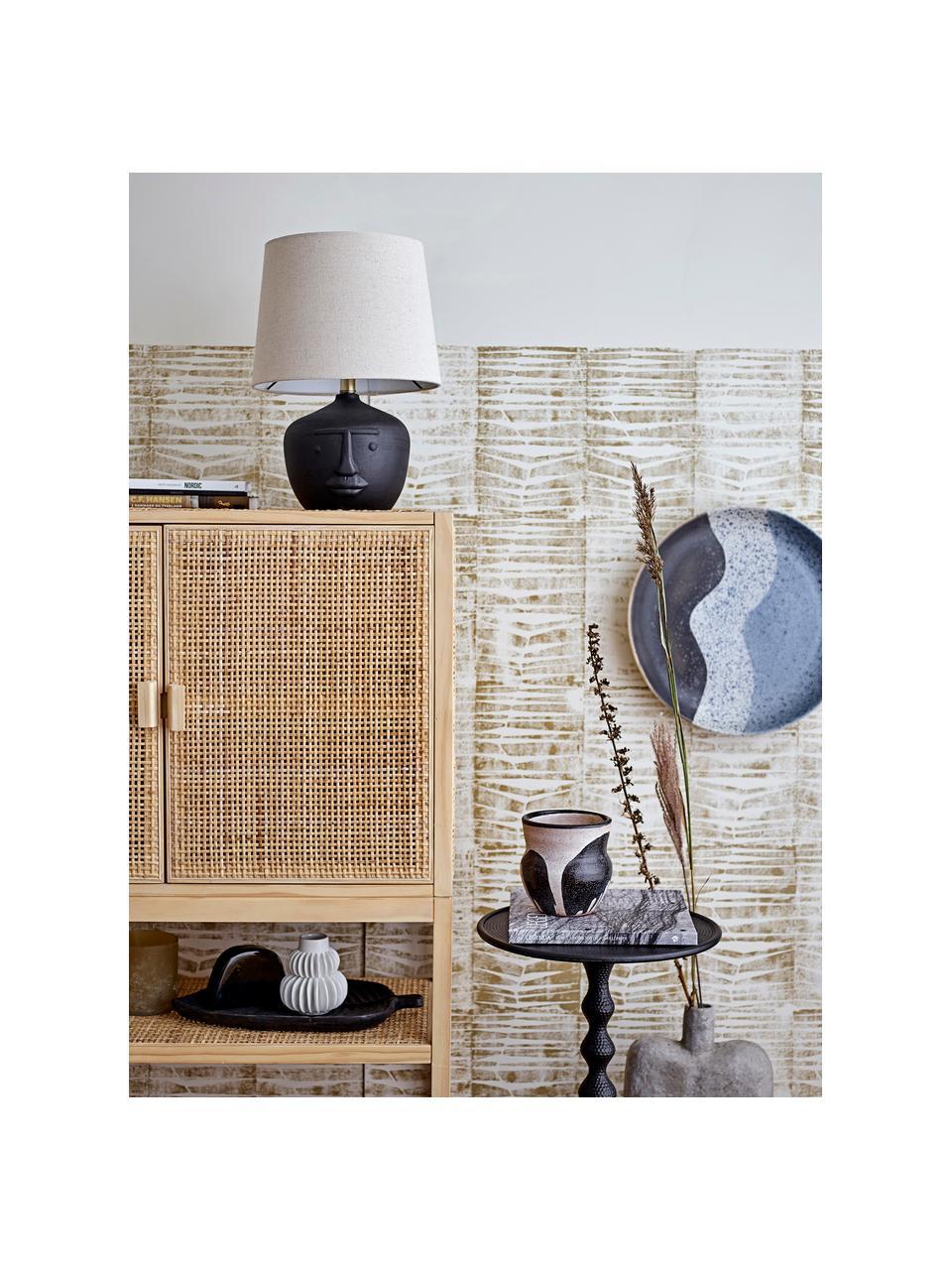 Tafellamp Matheo van terracotta, Lampenkap: linnen, Lampvoet: terracotta, Zwart, wit, Ø 31 x H 43 cm