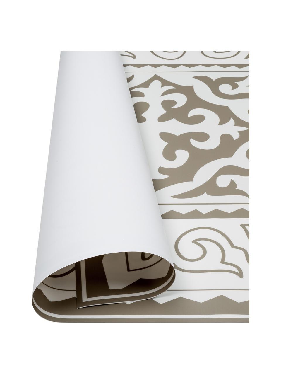 Tapis antidérapant intérieur extérieur en vinyle Aksana, Taupe, blanc