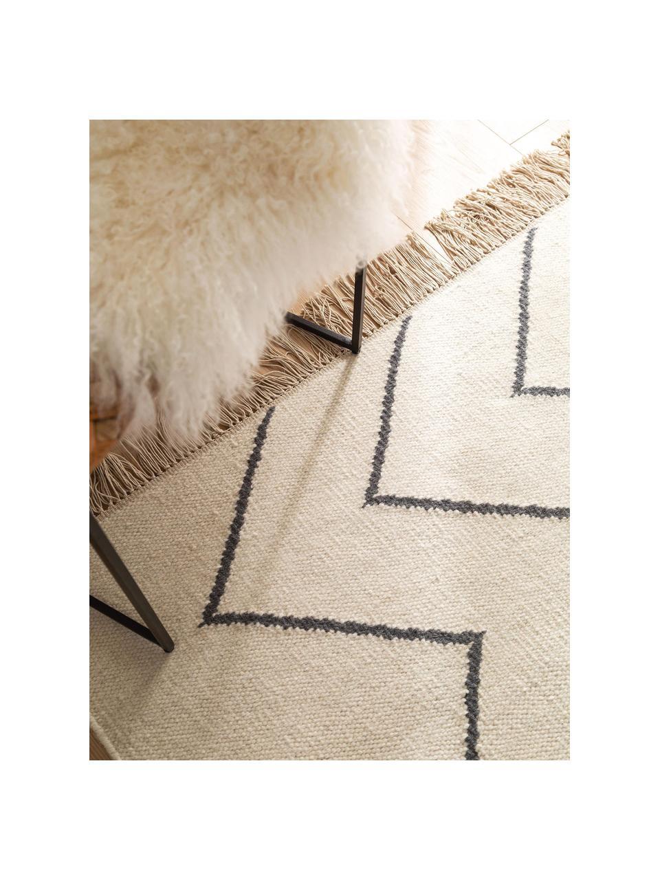 Tappeto kilim tessuto a mano con motivo a zigzag e frange Vince, 90% lana, 10% cotone Nel caso dei tappeti di lana, le fibre possono staccarsi nelle prime settimane di utilizzo, questo e la formazione di lanugine si riducono con l'uso quotidiano, Color avorio, grigio scuro, Larg. 160 x Lung. 230 cm (taglia M)