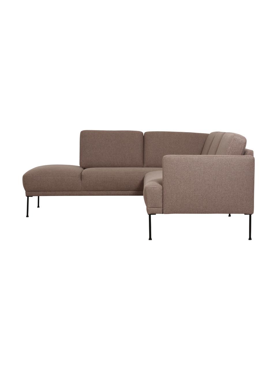 Canapé d'angle brun avec pieds en métal Fluente, Tissu brun