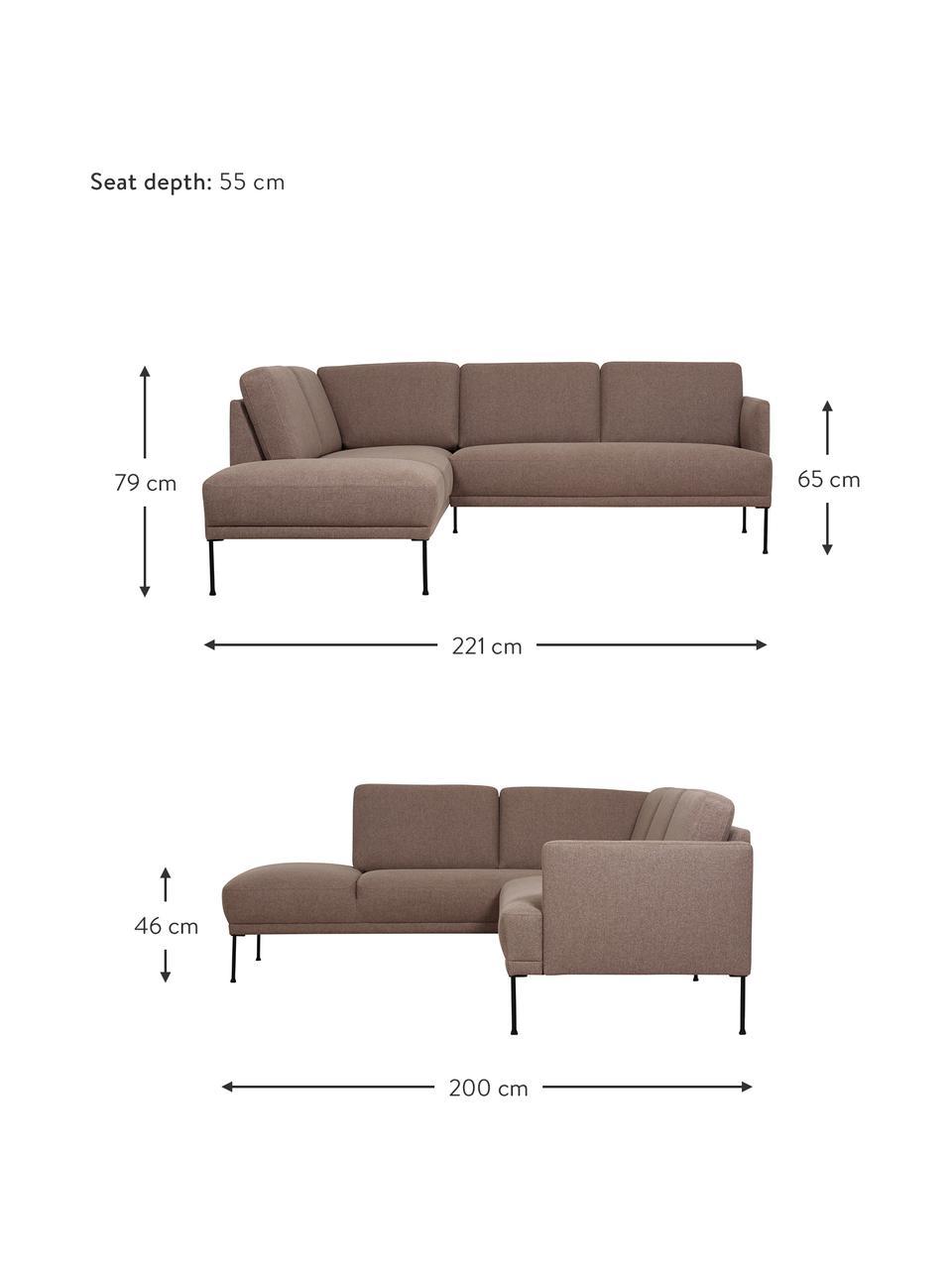 Hoekbank Fluente in bruin met metalen poten, Bekleding: 100% polyester, Frame: massief grenenhout, Geweven stof bruin, B 221 x D 200 cm