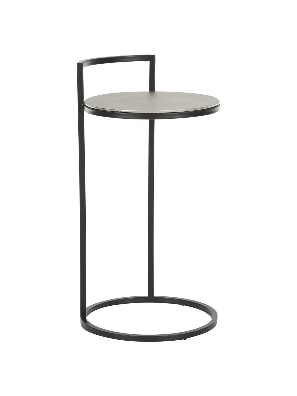 Table d'appoint ronde Circle, Argent, noir