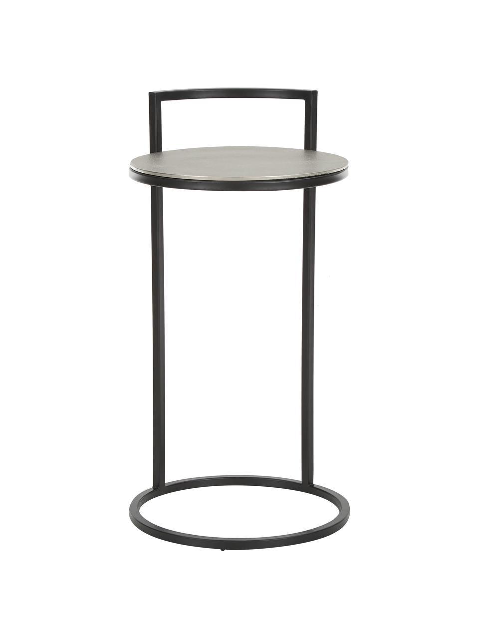 Okrągły stolik pomocniczy z metalu Circle, Blat: metal powlekany, Nogi: metal lakierowany, Srebrny, czarny, Ø 35 x W 66 cm