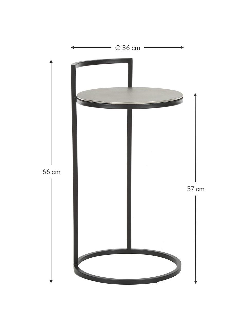 Ronde bijzettafel Circle van metaal, Tafelblad: gecoat metaal, Frame: gelakt metaal, Zilverkleurig, zwart, Ø 35 x H 66 cm
