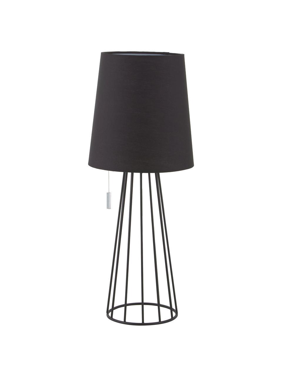 Große Tischlampe Mailand in Schwarz, Lampenfuß: Metall, vermessingt und l, Schwarz, Ø 23 x H 59 cm