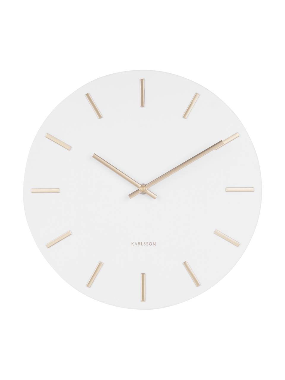 Wanduhr Charm, Stahl, lackiert, Weiß, Ø 30 x T 4 cm