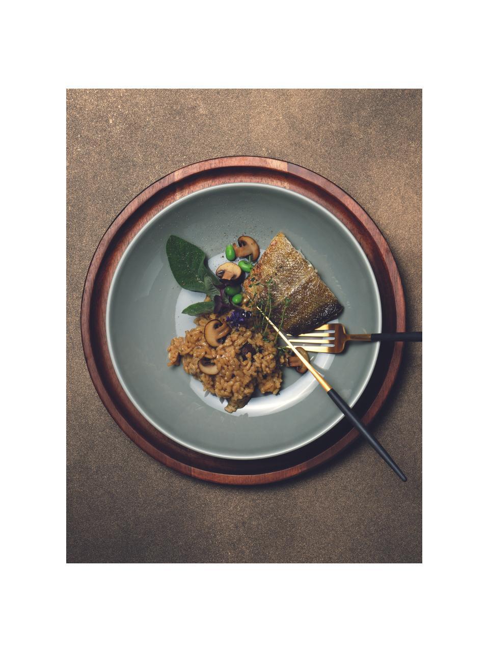 Porseleinen soepborden Kolibri in glanzend grijs, 6 stuks, Porselein, Grijs, Ø 24 cm