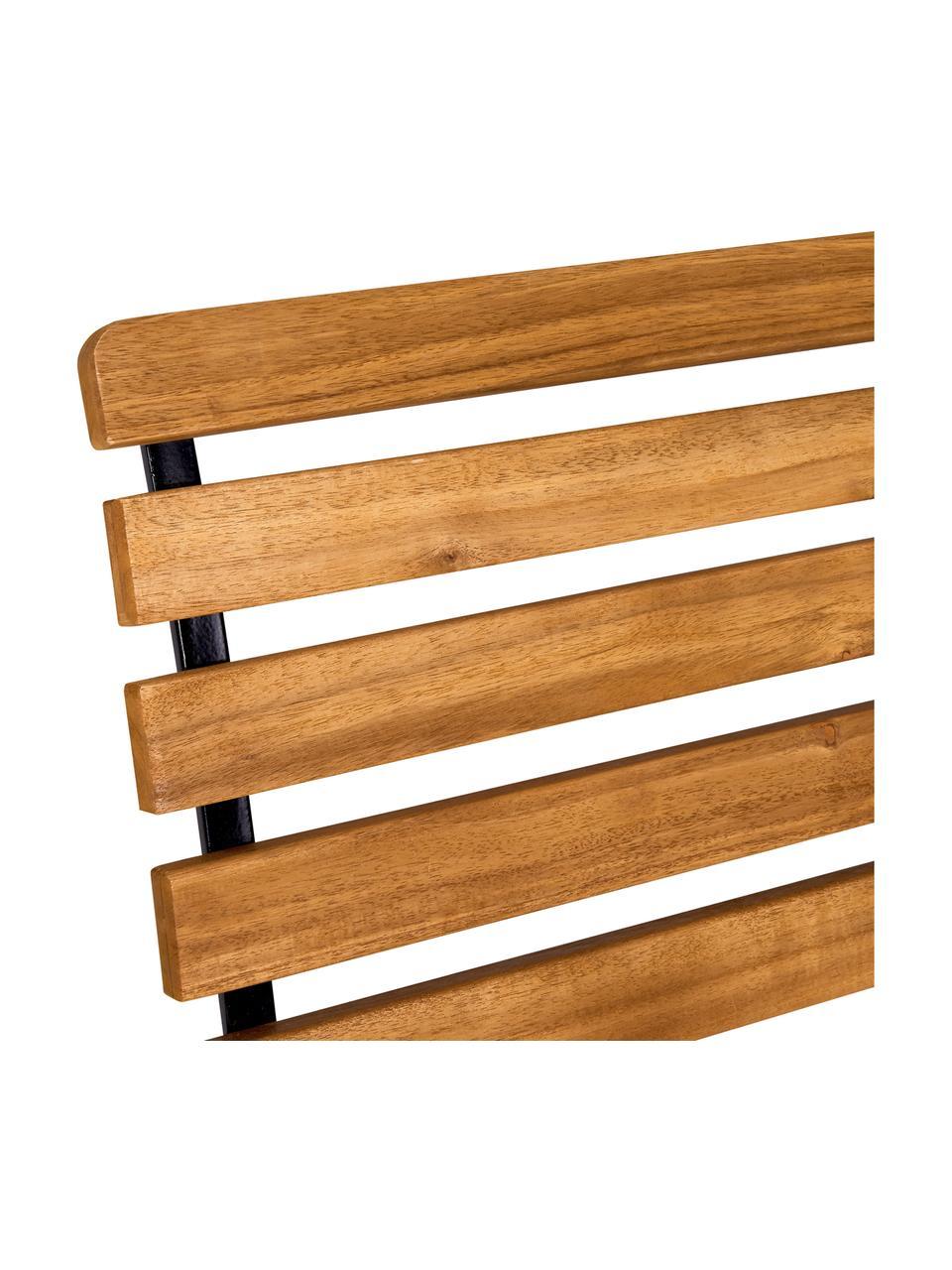 Garten-Klappbank Parklife mit Armlehnen, Sitzfläche: Akazienholz, geölt,, Gestell: Metall, verzinkt, pulverb, Schwarz, Akazienholz, B 111 x T 59 cm