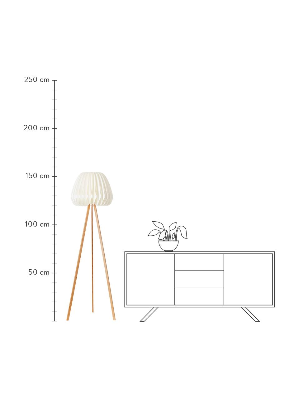 Design tripod vloerlamp Inna van bamboehout, Lampenkap: kunststof, Lampvoet: bamboe, Wit, bamboekleurig, Ø 62 x H 155 cm