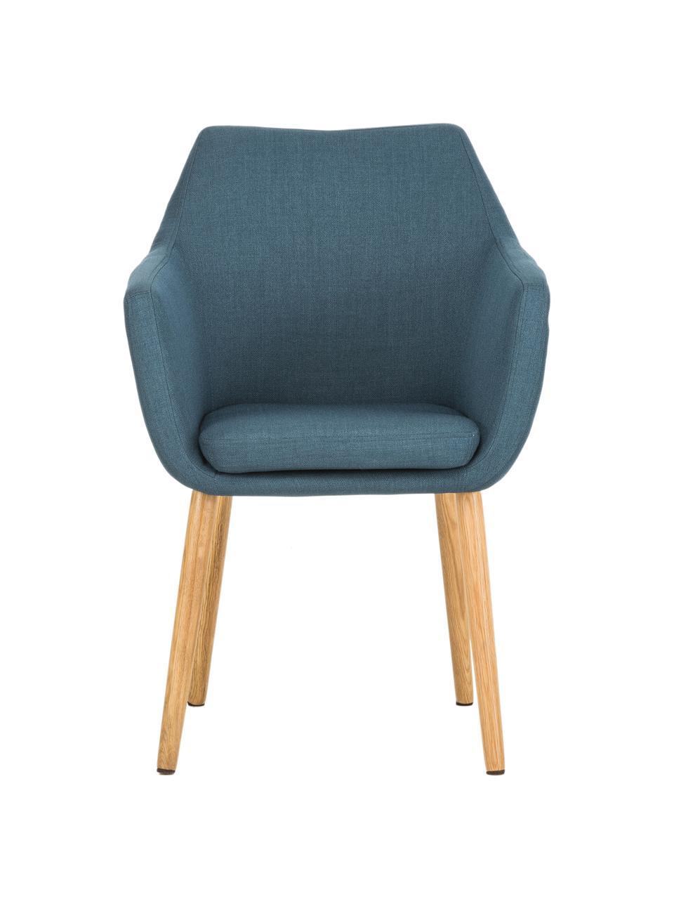 Sedia stile nordico con braccioli Nora, Rivestimento: 100% poliestere Il rivest, Gambe: legno di quercia, Tessuto blu scuro, gambe in quercia, Larg. 58 x Prof. 58 cm