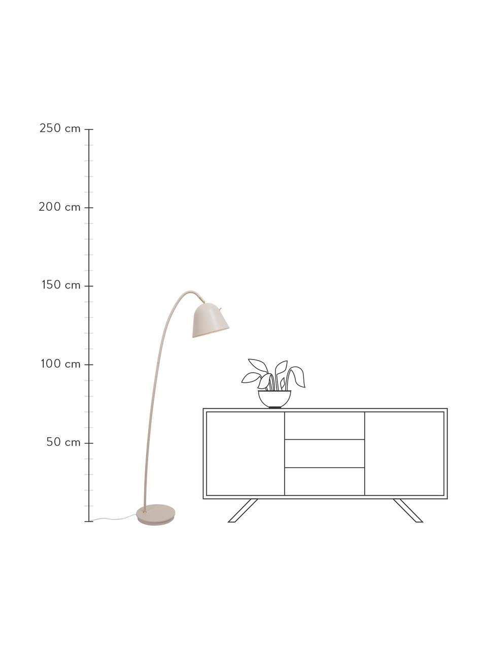 Lampada da lettura beige Fleur, Paralume: metallo rivestito, Base della lampada: metallo rivestito, Decorazione: metallo, Beige, Larg. 27 x Alt. 148 cm