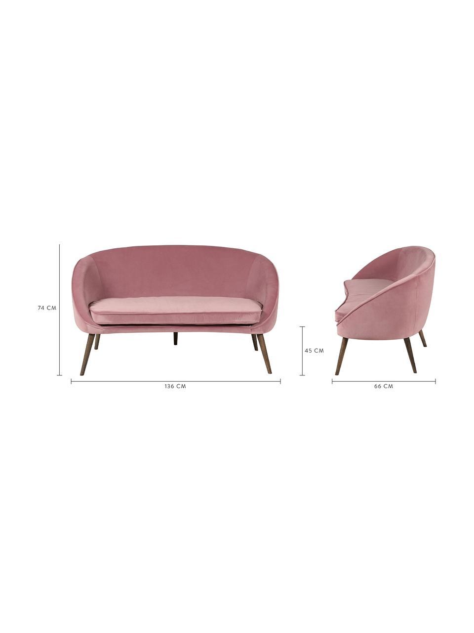 Samt-Sofa Safir (2-Sitzer) in Rosa mit Holz-Füßen, Bezug: Polyestersamt 50.000 Sche, Beine: Walnussbaumholz, gebeizt, Samt Himbeerfarben, B 136 x T 66 cm
