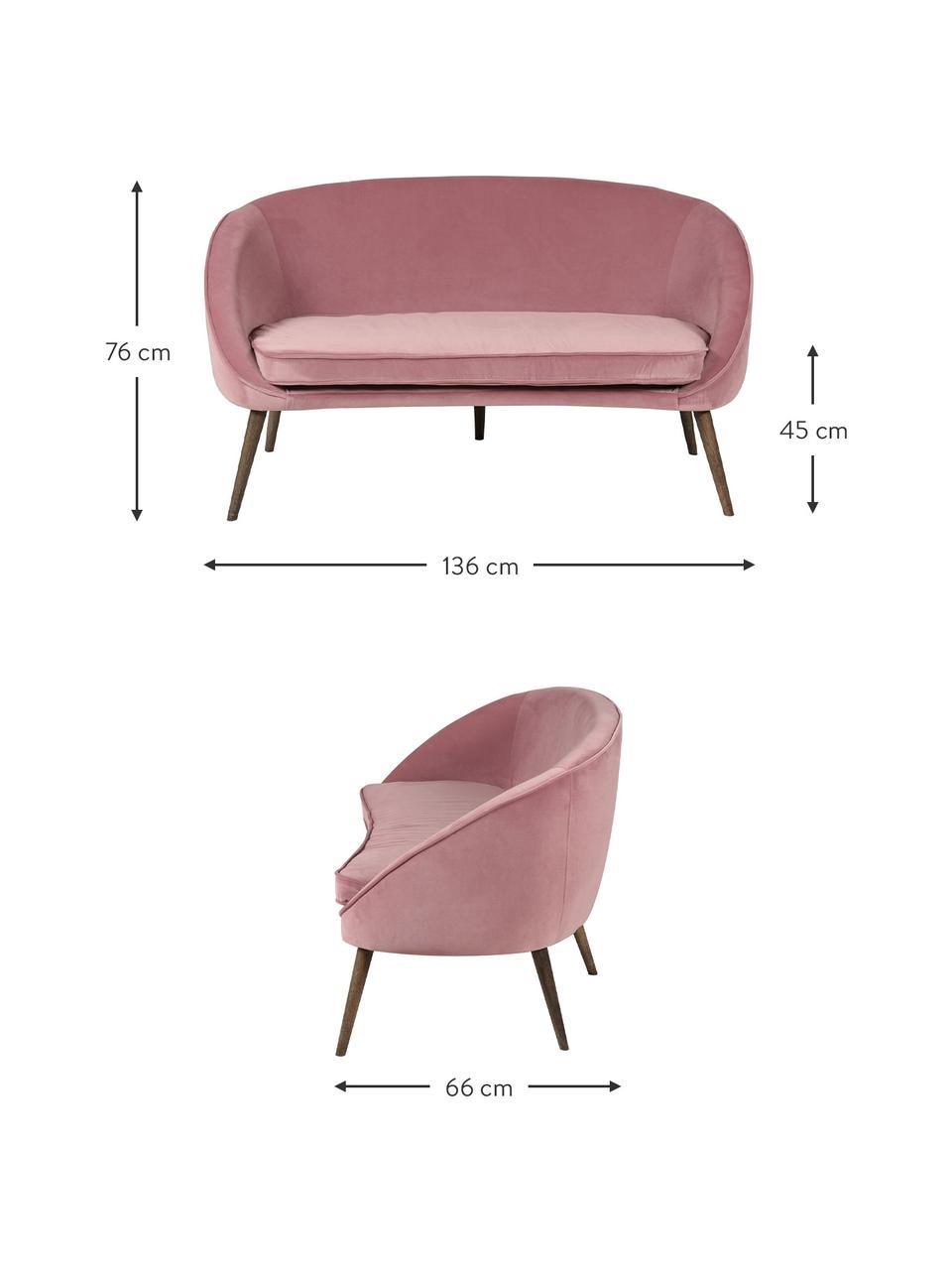 Fluwelen bank Safir (2-zits) in roze met houten poten, Bekleding: polyester fluweel, Poten: gebeitst walnoothout, Fluweel frambooskleurig, B 136  x D 66 cm