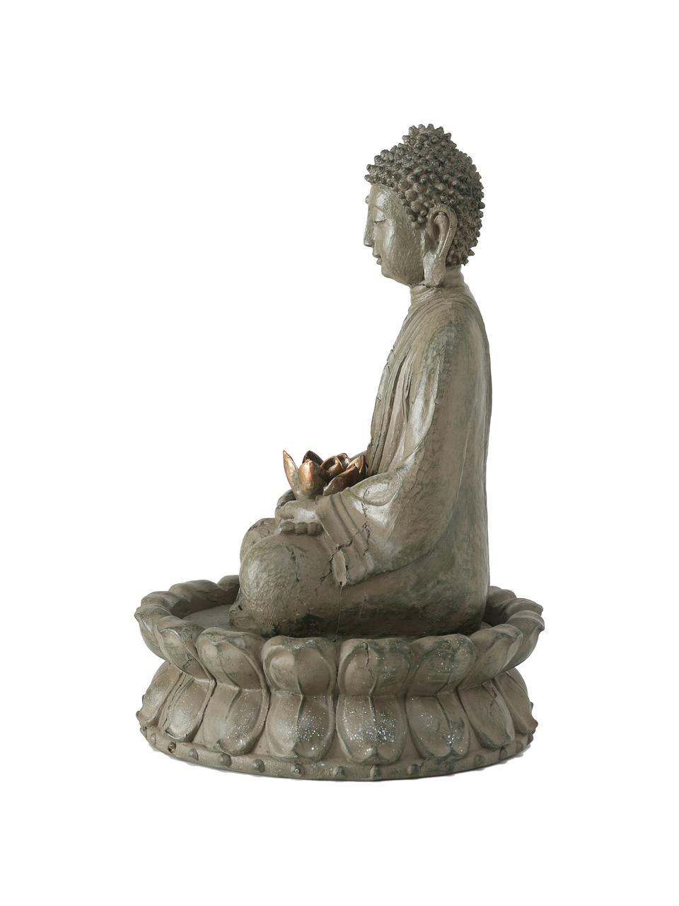 Gartenbrunnen Buddha, Kunststoff, Grüngrau, Kupferfarben, Ø 31 x H 46 cm