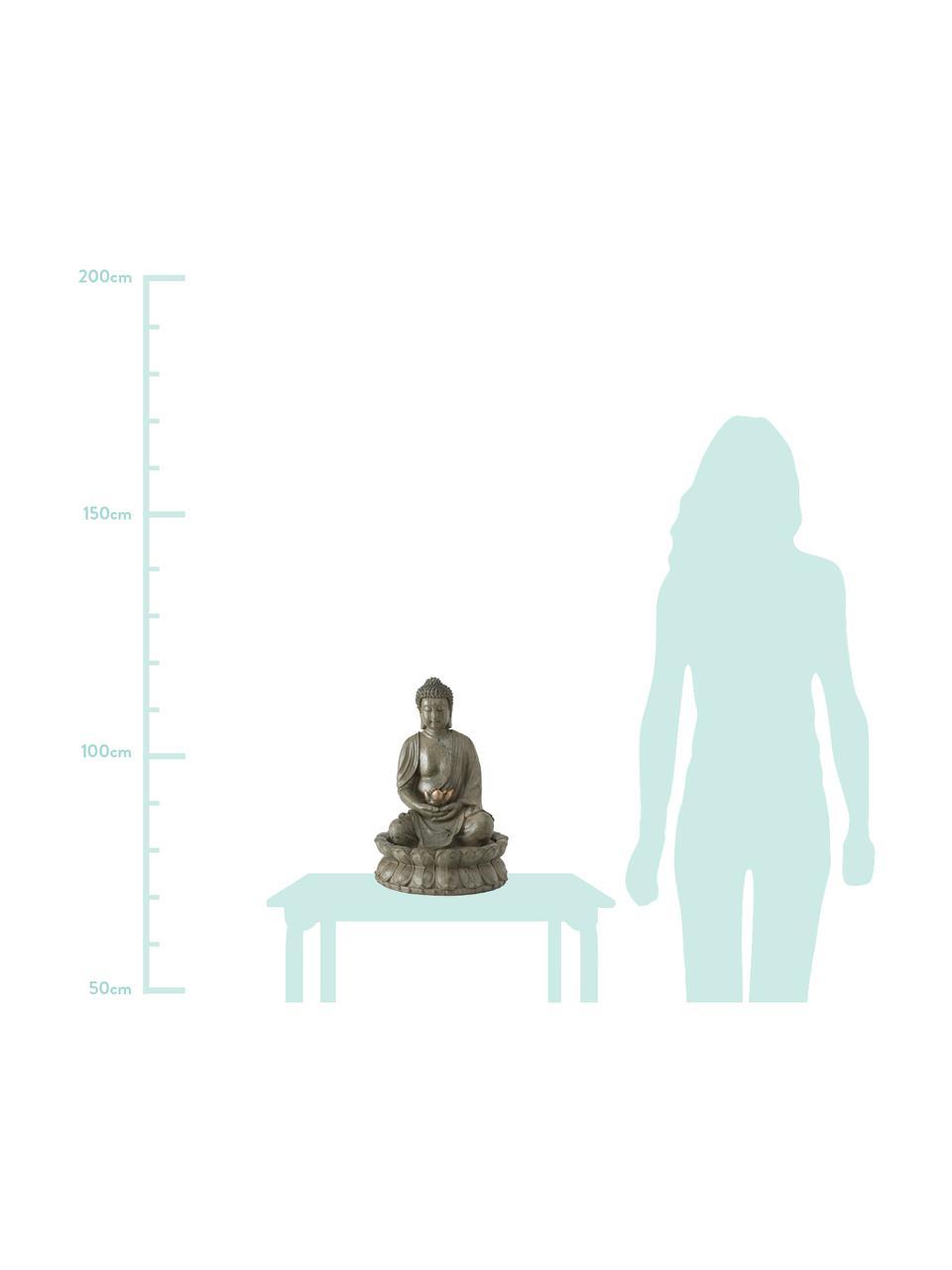 Fontana da giardino Buddha, Materiale sintetico, Grigio verde, rame, Ø 31 x Alt. 46 cm