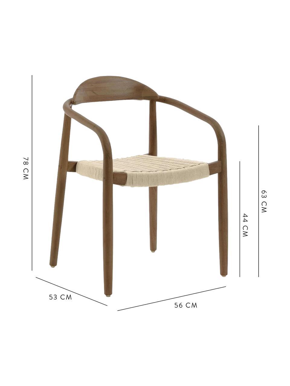 Krzesło z litego drewna Glynis, Stelaż: lite drewno eukaliptusowe, Beżowy, brązowy, S 56 x G 53 cm