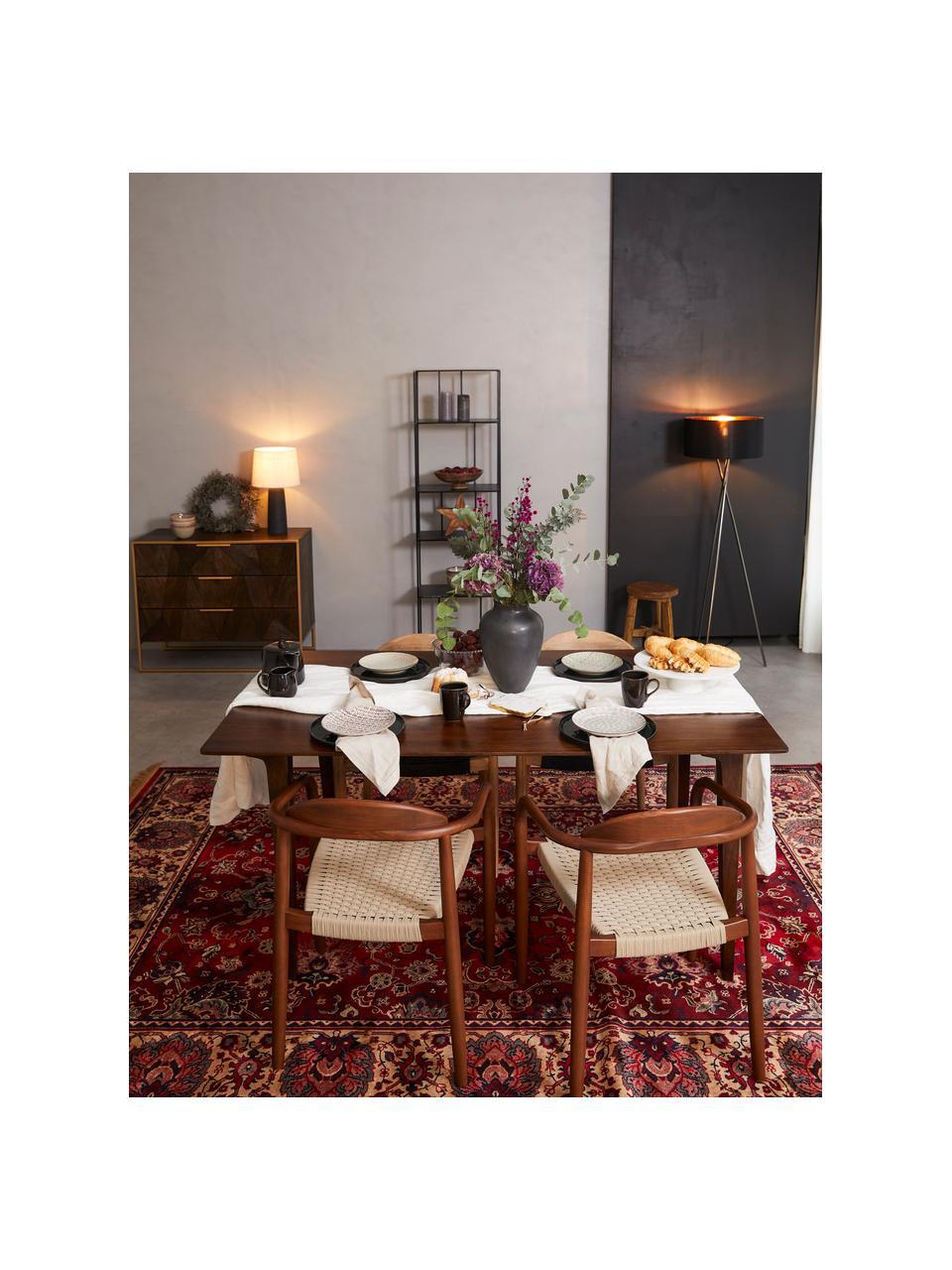 Krzesło z podłokietnikami z litego drewna Glynis, Stelaż: lite drewno eukaliptusowe, Brązowy, beżowy, S 56 x G 53 cm