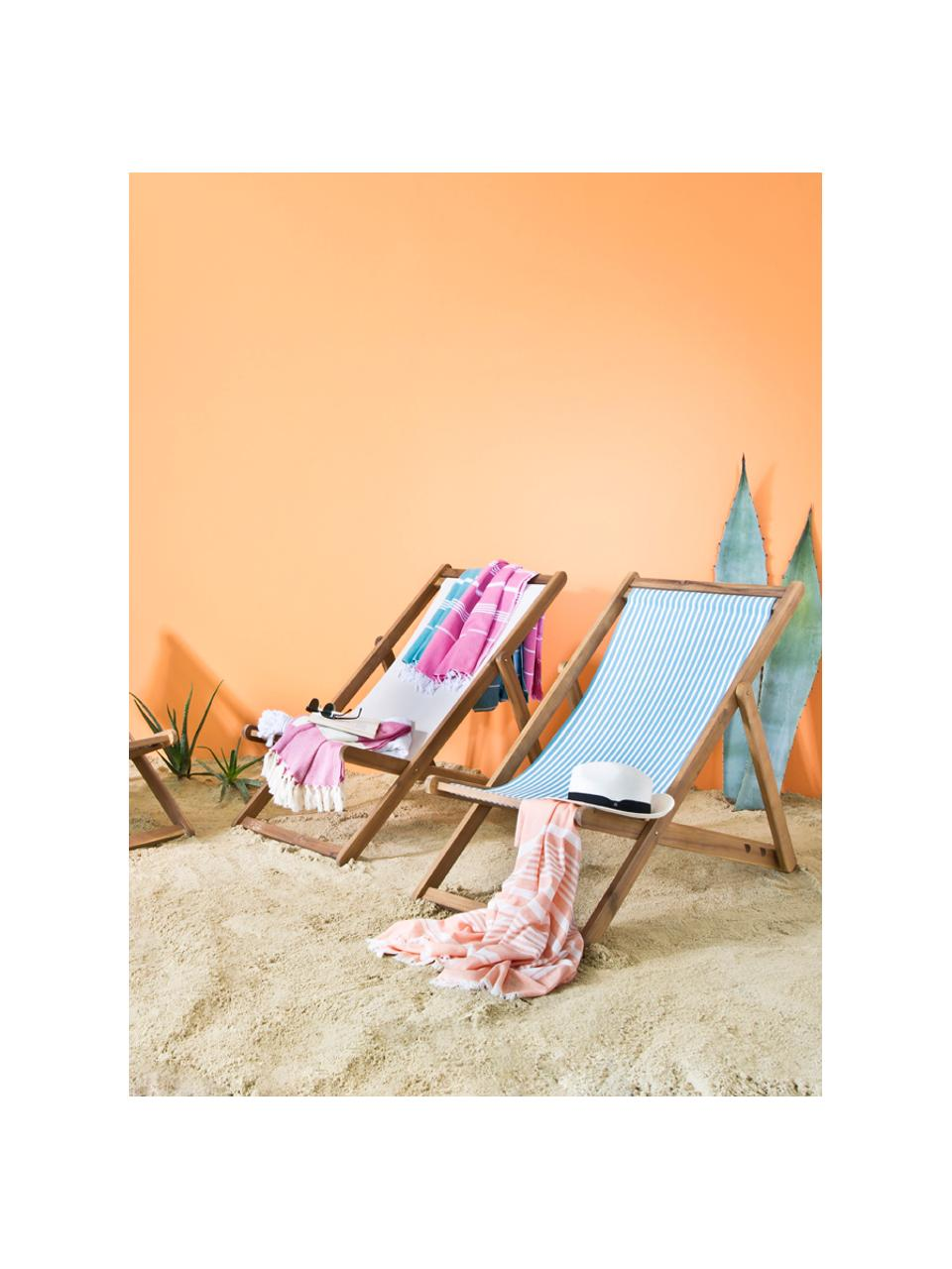 Sedia a sdraio pieghevole Zoe, Struttura: legno di acacia massiccio, Bianco, blu, Larg. 59 x Prof. 84 cm