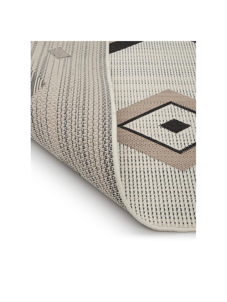 Alfombra de interior/exterior Nikita, estilo étnico, 86%polipropileno, 14%poliéster, Beige, negro, An 80 x L 250 cm