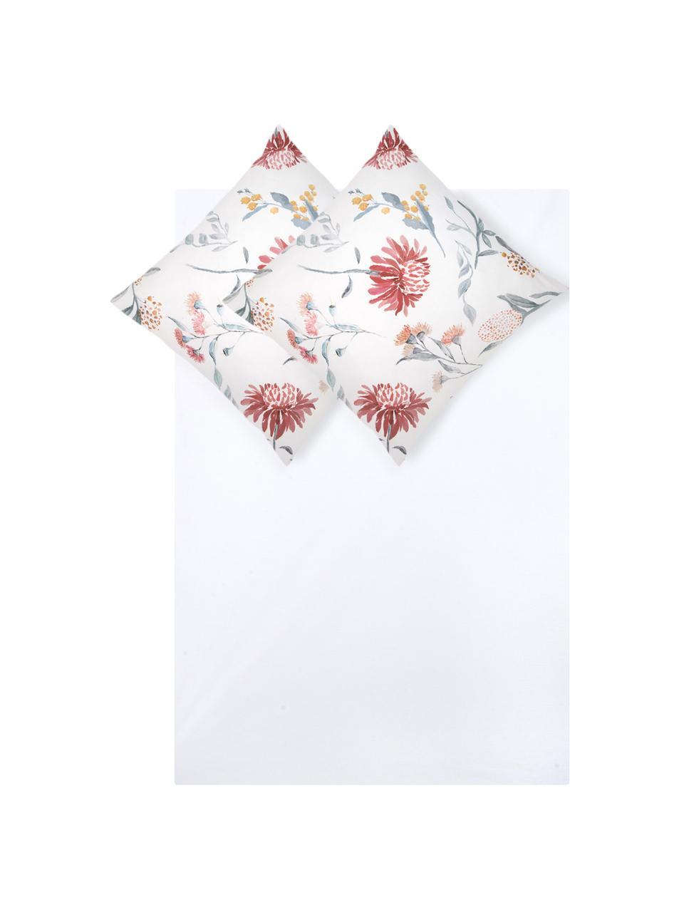 Baumwollsatin-Bettwäsche Evie mit Aquarell Blumen-Muster, Webart: Satin Fadendichte 210 TC,, Vorderseite: Floraler DruckRückseite: Weiß, 240 x 220 cm + 2 Kissen 80 x 80 cm