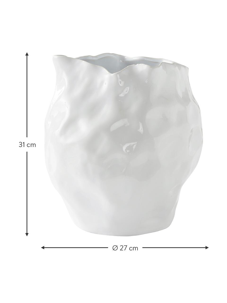 Designvase Bubba in Weiß, Steingut, Weiß, Ø 27 x H 31 cm