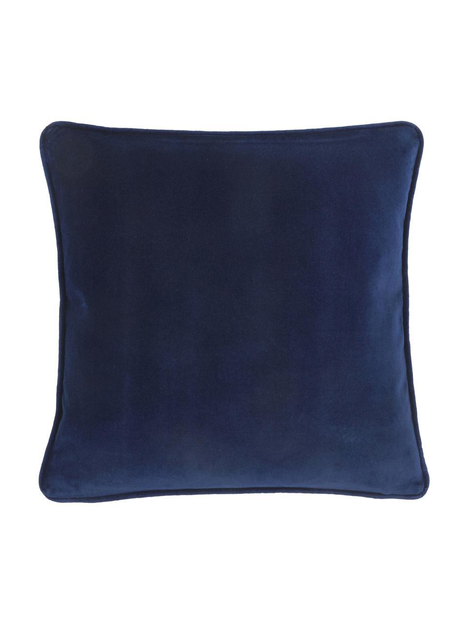 Effen fluwelen kussenhoes Dana in marineblauw, 100% katoenfluweel, Marineblauw, 50 x 50 cm