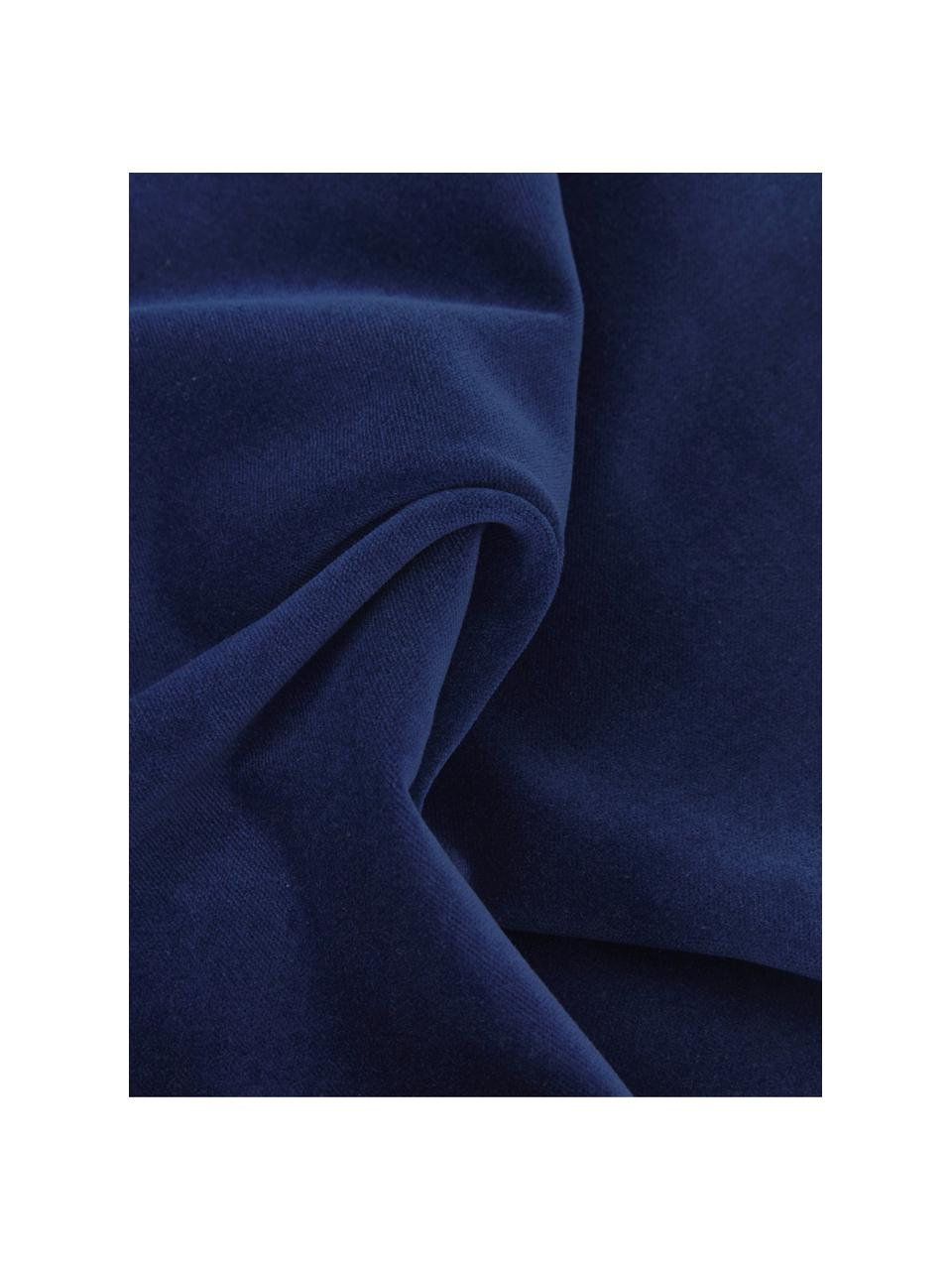 Federa arredo in velluto blu navy Dana, 100% velluto di cotone, Blu marino, Larg. 50 x Lung. 50 cm