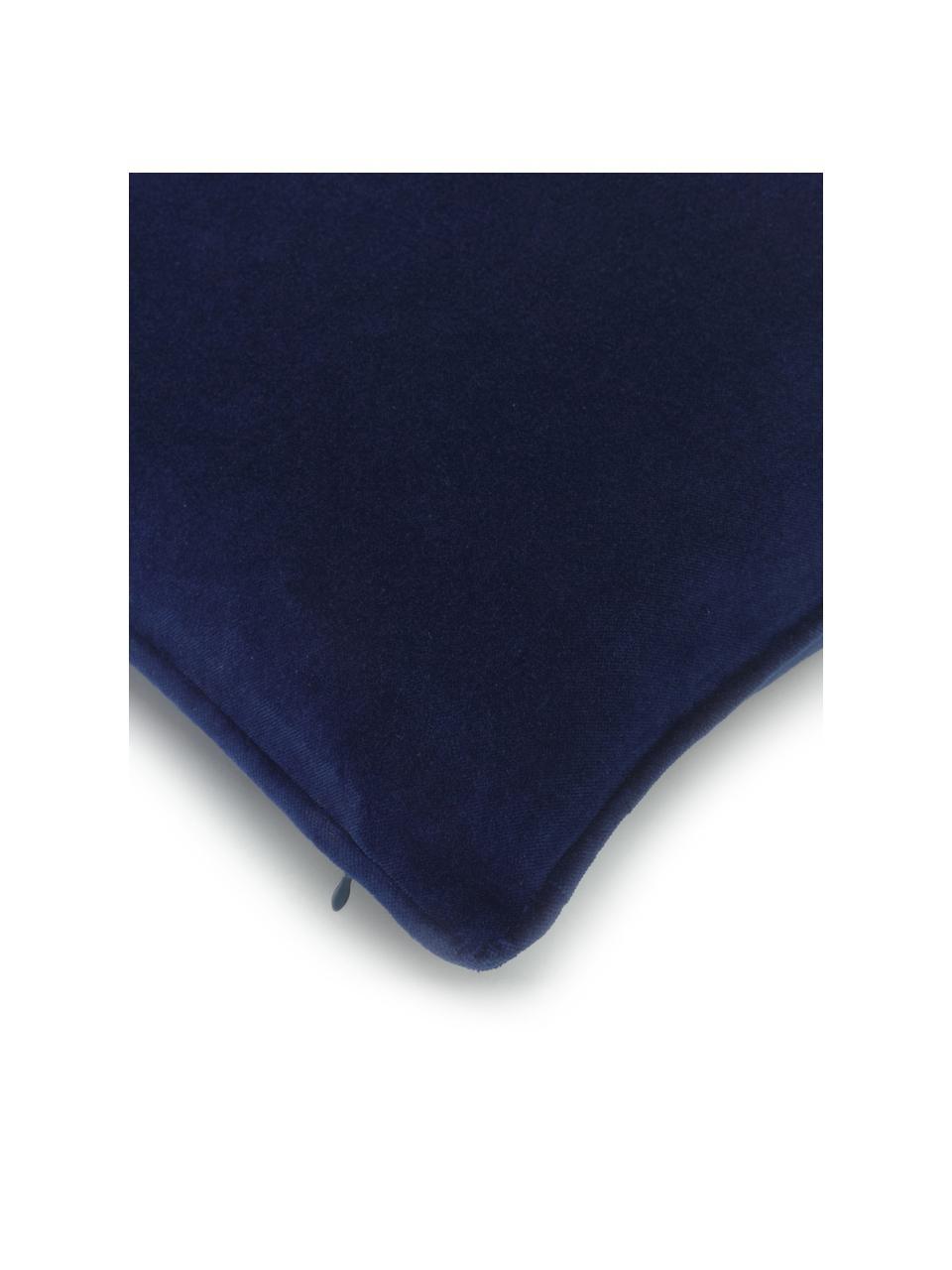 Funda de cojín de terciopelo Dana, 100%terciopelo de algodón, Azul marino, An 50 x L 50 cm