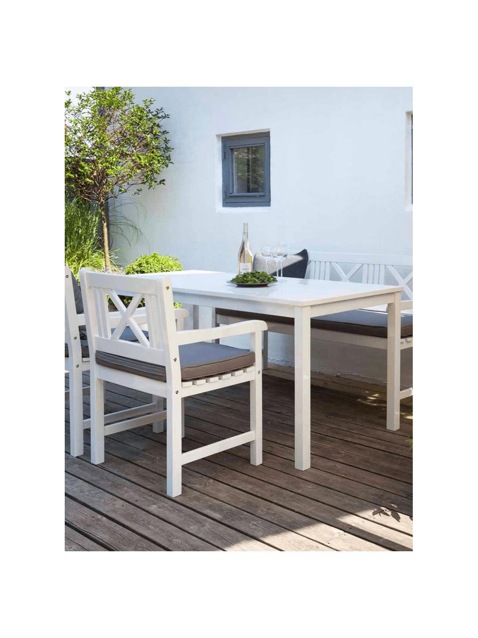 Stół ogrodowy z drewna  Rosenborg, Drewno mahoniowe, lakierowane, Biały, 165 x 75 cm