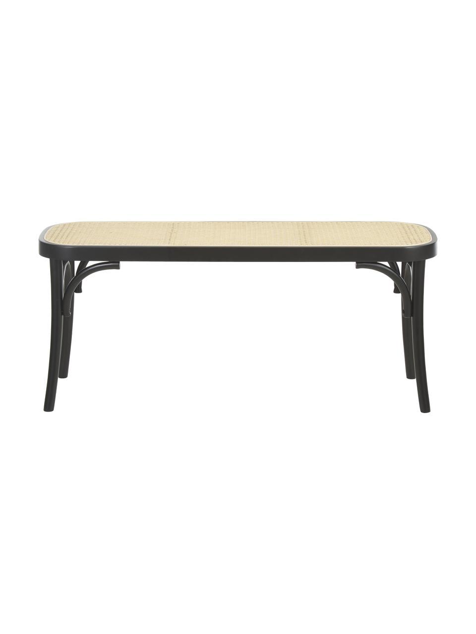 Sitzbank Franz mit Wiener Geflecht, Sitzfläche: Rattan, Gestell: Buchenholz, massiv, Schwarzes Holz, 110 x 47 cm