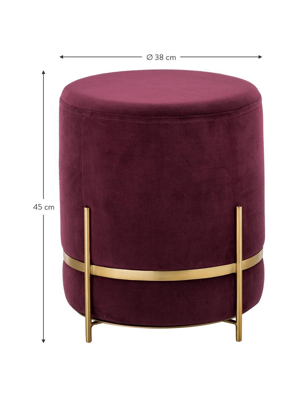 Pouf in velluto Haven, Rivestimento: velluto, Rosso scuro, dorato, Ø 38 x Alt. 45 cm