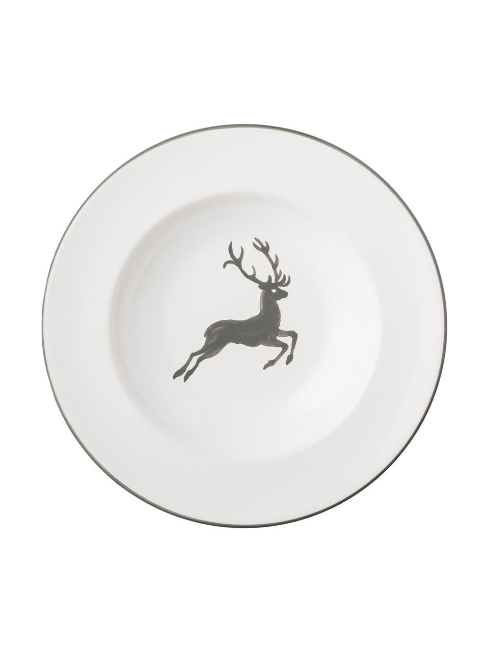 Ręcznie malowany talerz głęboki Gourmet Grauer Hirsch, Ceramika, Szary, biały, Ø 24 cm