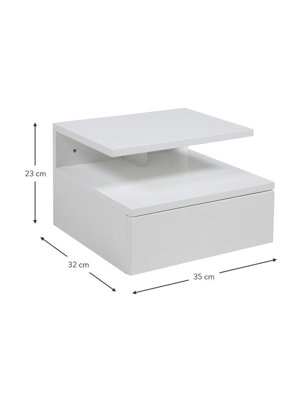 Ścienna szafka nocna z szufladą Ashlan, Płyta pilśniowa średniej gęstości (MDF), lakierowana, Biały, matowy, S 35 x W 23 cm