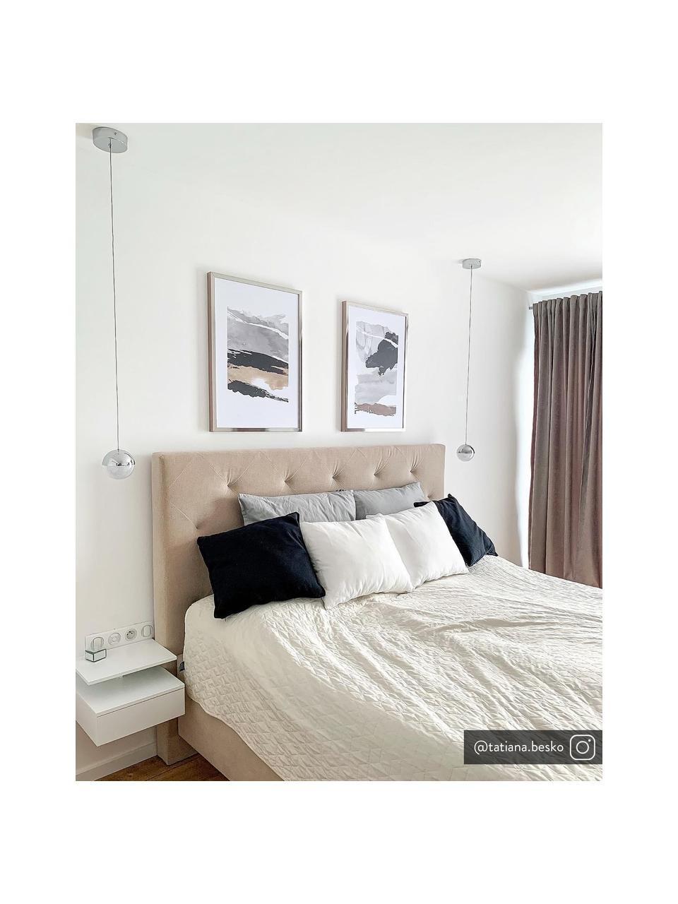Wandnachtkastje Ashlan met lades, Gelakt MDF, Mat wit, 35 x 23 cm
