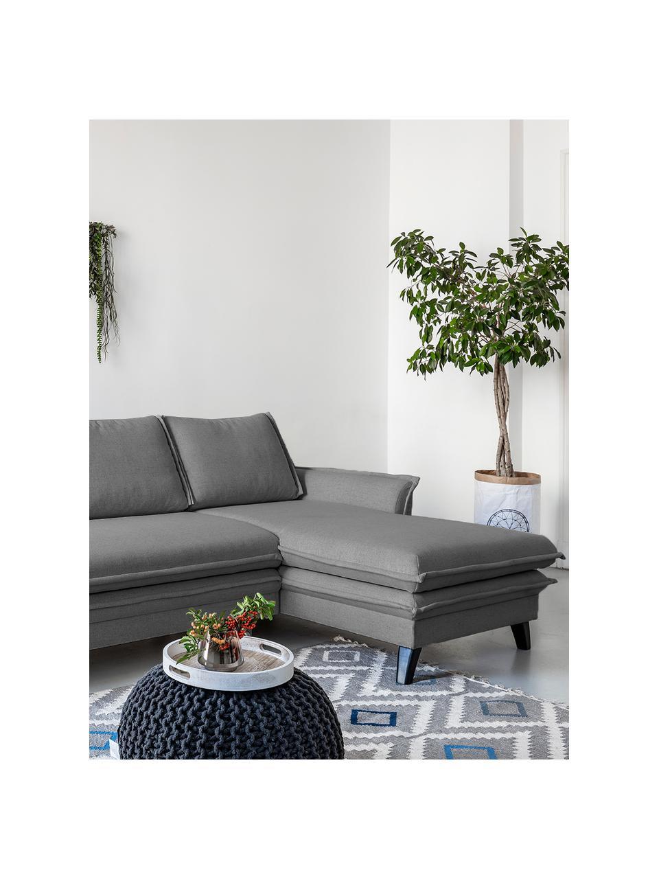 Sofa narożna z funkcją spania i schowkiem Charming Charlie, Tapicerka: 100% poliester, w dotyku , Stelaż: drewno naturalne, płyta w, Szary, S 228 x G 150 cm