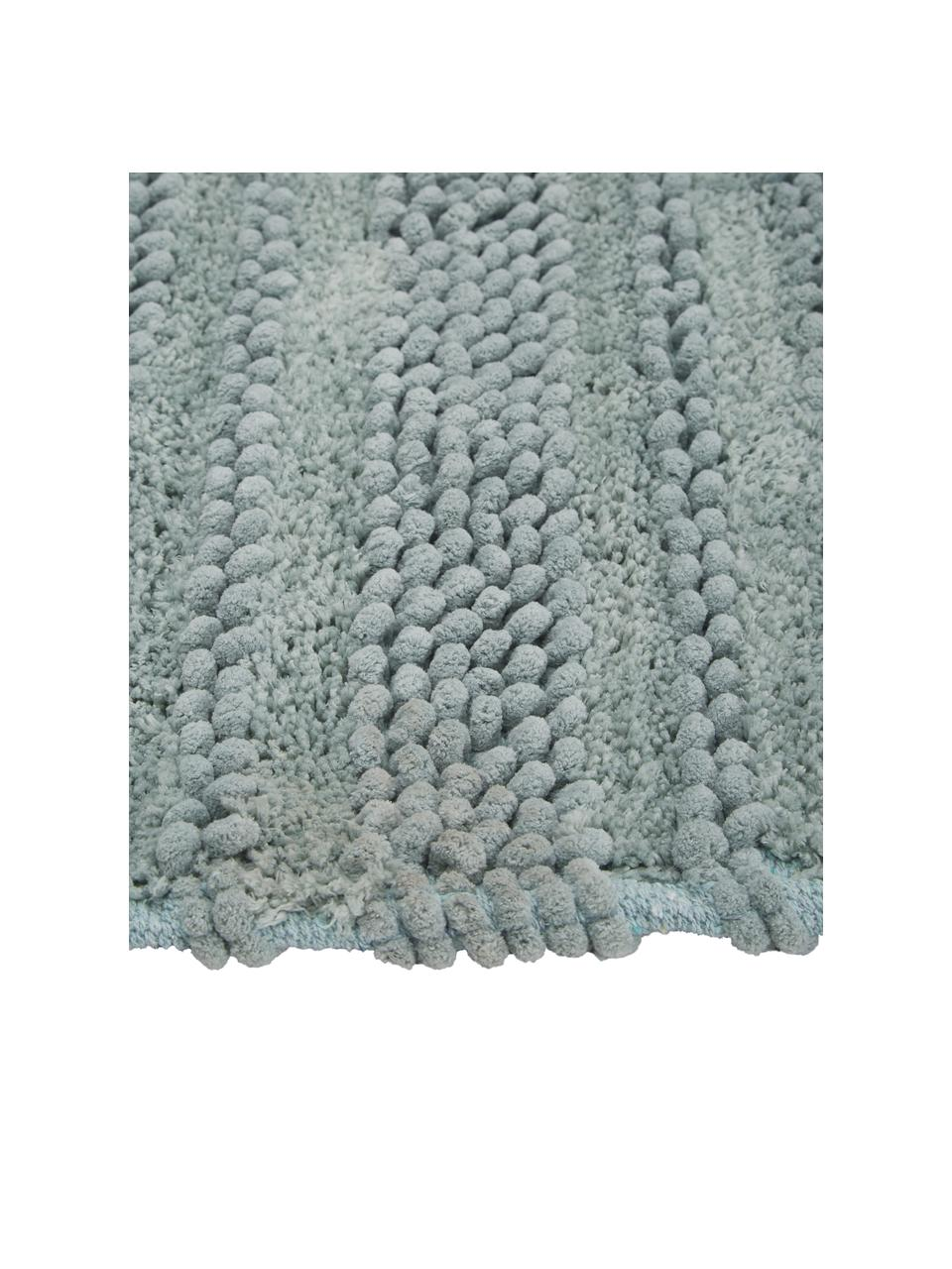 Großer Badvorleger Nea in Mintgrün mit Hoch-Tief-Struktur, 65% Chenille, 35% Baumwolle, Mintgrün, 80 x 120 cm