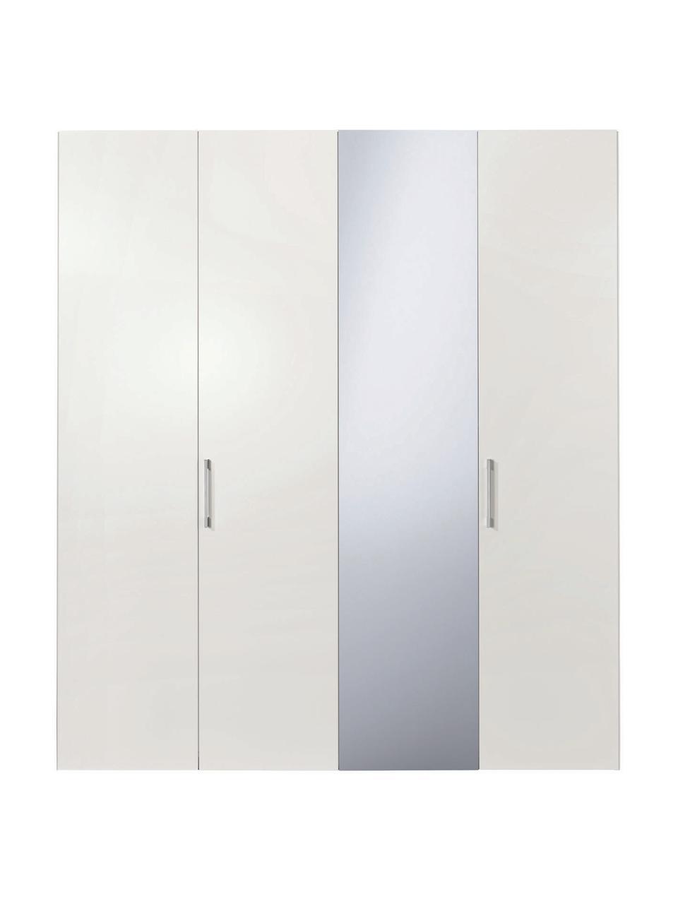 Kleiderschrank Madison 4-türig mit Spiegeltür, inkl. Montageservice, Korpus: Holzwerkstoffplatten, lac, Weiß, Mit Spiegeltür, 202 x 230 cm