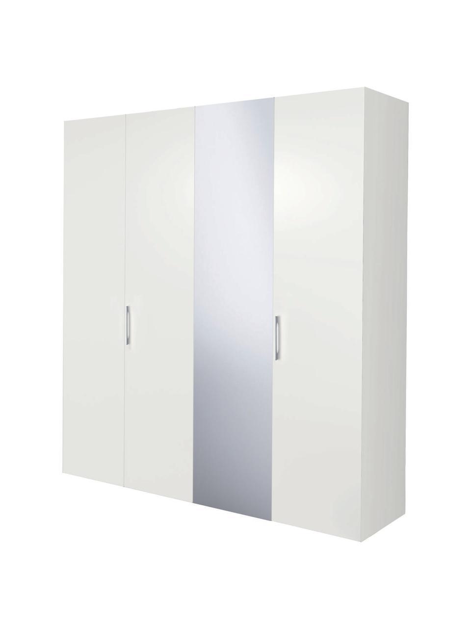 Kleiderschrank Madison mit Spiegeltür in Weiß, Korpus: Holzwerkstoffplatten, lac, Weiß, 202 x 230 cm