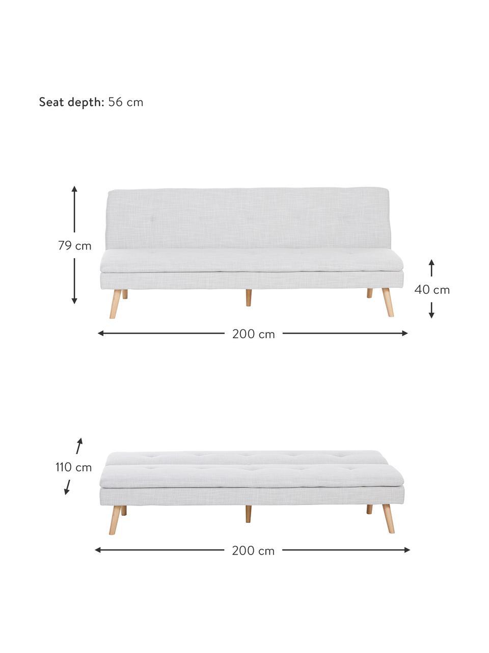 Sofa z funkcją spania z drewnianymi nogami Amelie (3-osobowa), Tapicerka: poliester Dzięki tkaninie, Nogi: drewno kauczukowe, Jasny szary, S 200 x W 79 cm