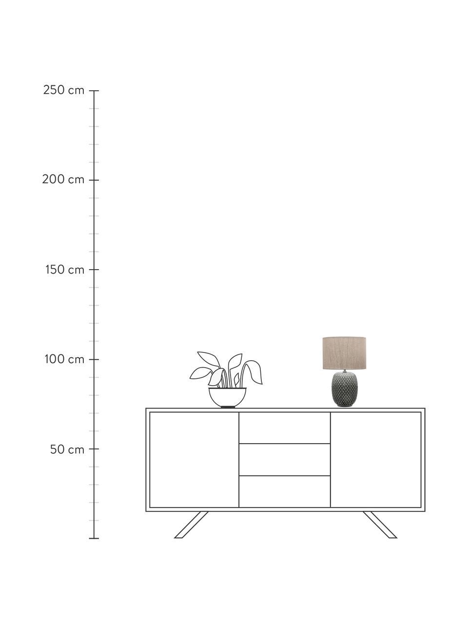 Keramik-Tischlampe Pretty Classy, Lampenschirm: Stoff, Lampenfuß: Keramik, Grau, Beige, Ø 25 x H 40 cm