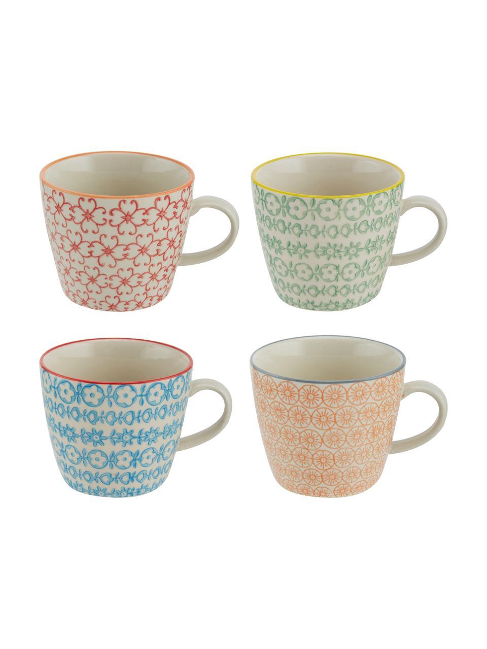 Tassen Carla mit kleinem Muster, 4er-Set, Steingut, Weiß, Schwarz, Gelb, Rot, Orange, Ø 10 x H 8 cm
