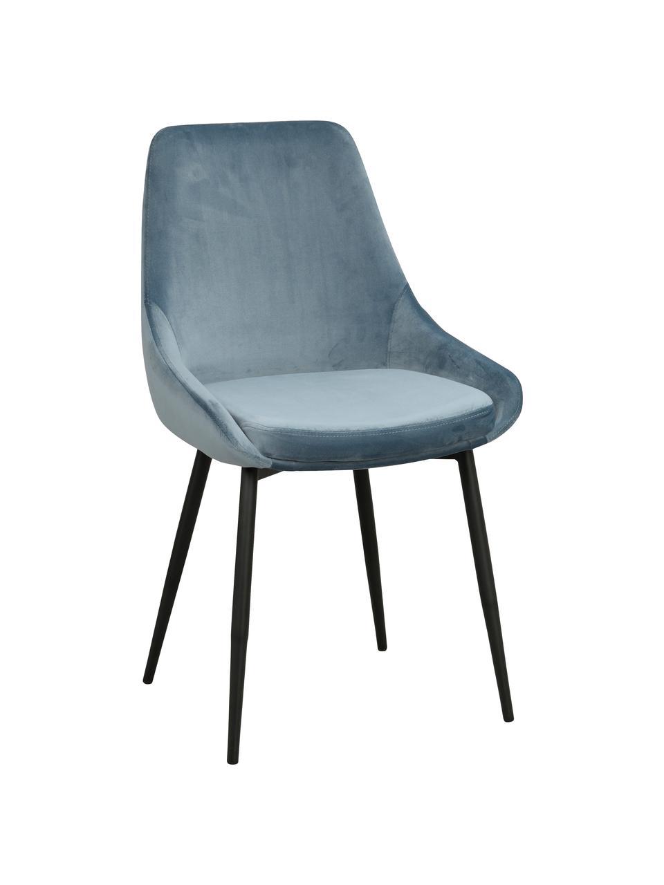 Krzesło tapicerowane z aksamitu Sierra, 2 szt., Tapicerka: aksamit poliestrowy Dzięk, Nogi: metal lakierowany, Aksamitny niebieski, nogi: czarny, S 49 x G 55 cm