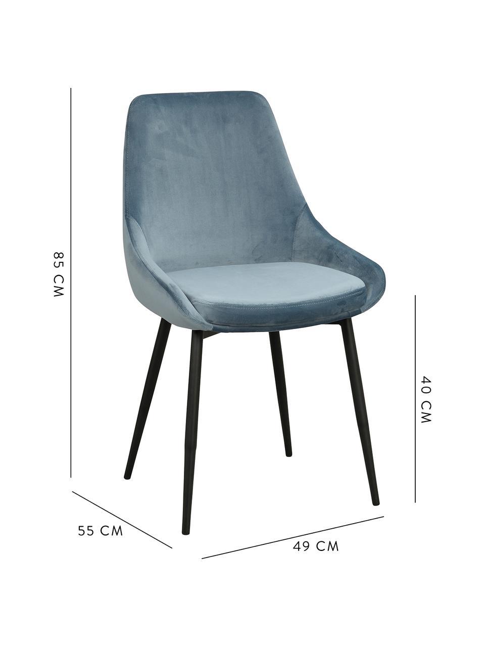 Samt-Polsterstühle Sierra, 2 Stück, Bezug: Polyestersamt Der strapaz, Beine: Metall, lackiert, Samt Blau, B 49 x T 55 cm